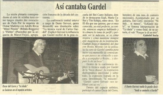 Así cantaba Gardel, 1996, Academia Nacional del Tango (Buenos Aires)