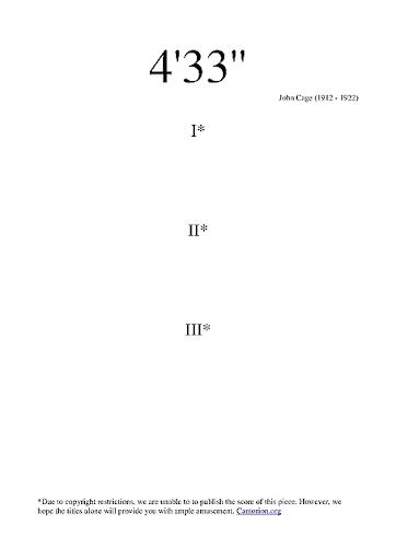 Una lunga pausa: 4min 33sec brano di John Cage